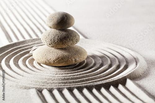 Acrylic Prints Stones in Sand balancing meditation with zen stones
