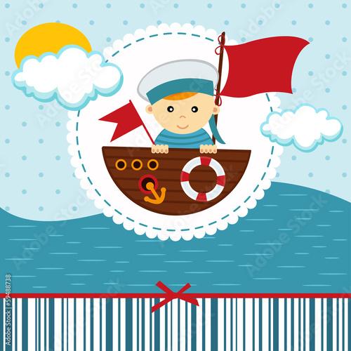 baby boy sailor - vector illustration Fototapeta