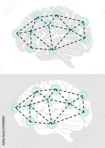 Fotografie, Obraz  działanie mózgu widok z boku schemat elementy infograficzne