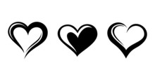 Black Silhouettes Of Hearts. V...