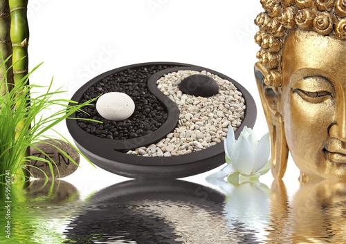 Photo composition zen, Bouddha, yin yang, bambou