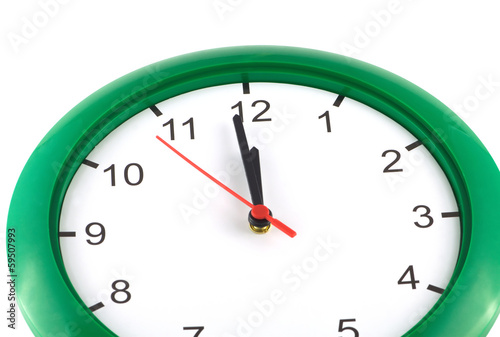 Valokuva  Big wall clock shows almost twelve o'clock isolated
