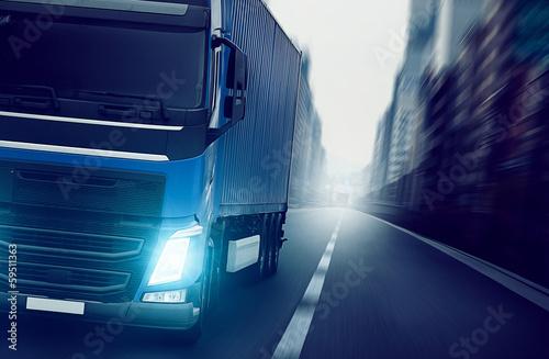 obraz PCV Ciężarówka Miasto