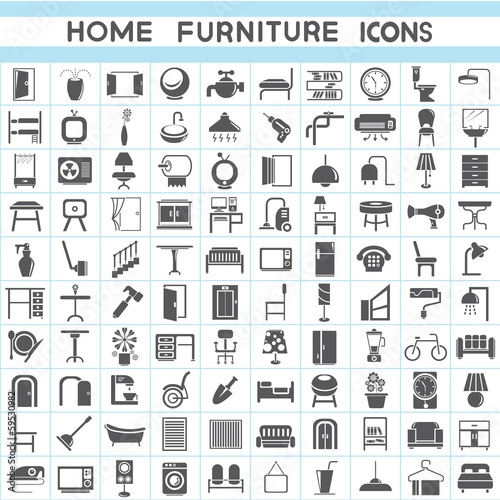 Interior Design Collections Furniture Icons Set Buy This