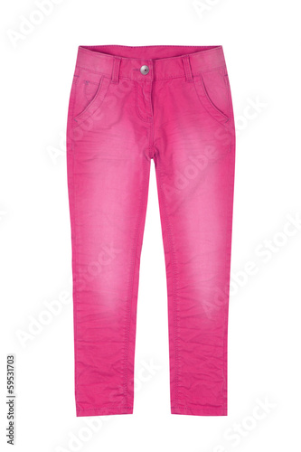 Fotografie, Obraz  Pink girl trousers isolated on white