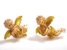 Two Golden Cherubs And White B...