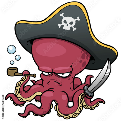 vector illustration of Cartoon pirate octopus Wallpaper Mural