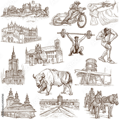 Fototapeta Traveling series: POLAND - hand drawings, on white obraz