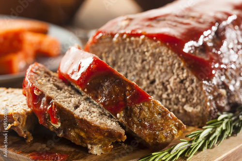Fond de hotte en verre imprimé Viande Homemade Ground Beef Meatloaf