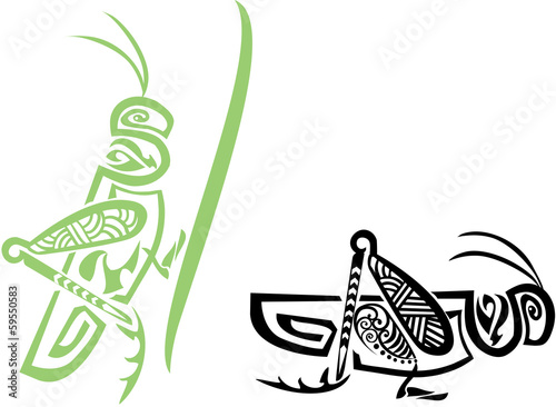 Stylized tribal grasshopper Fototapet