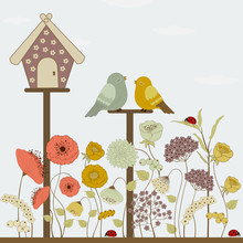 Cute Birds And Floral House