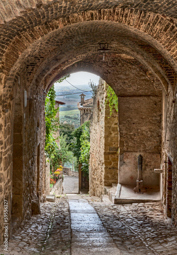 Canvas Prints Narrow alley antique Italian alley