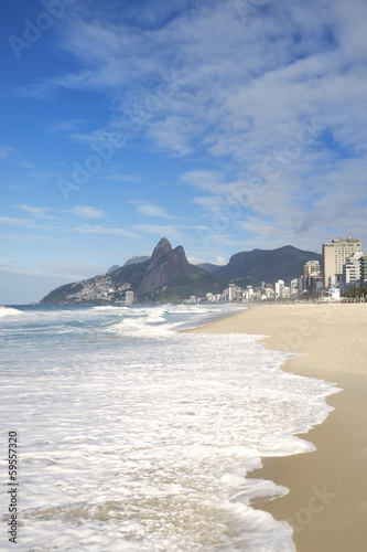 Rio de Janeiro Ipanema Beach Two Brothers Mountain Brazil Canvas Print
