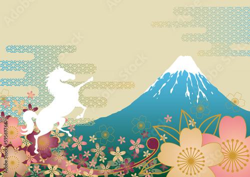 Fototapeta 白馬と富士山と桜馬 obraz