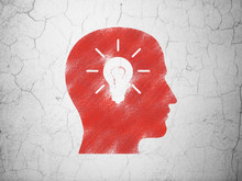 Finance Concept: Head With Light Bulb On Wall Background