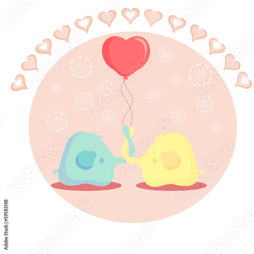 cute elephant in love. vector illustration Poster