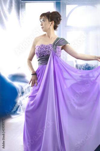 Garden Poster Fairytale World girl in a luxurious bright purple wedding dress