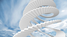 White Spiral Stairs Goes In The Cloudy Sky