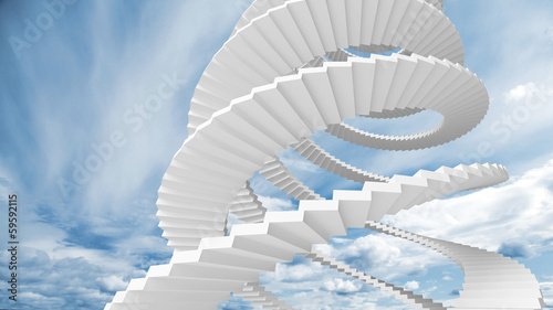 Valokuvatapetti White spiral stairs goes in the cloudy sky