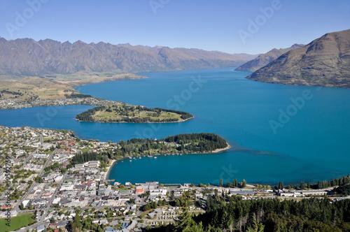 Aluminium Prints New Zealand Queenstone and Wakatipu lake, New Zealand