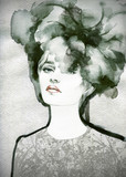 Beautiful woman.  Hand painted fashion illustration - 59593966