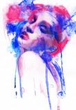 Beautiful woman.  Hand painted fashion illustration - 59594105