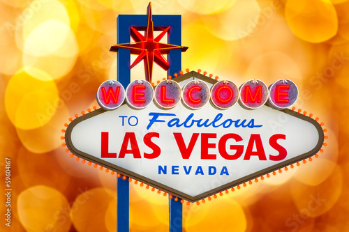 Poster Las Vegas Welcome to Fabulous Las Vegas sign blurred highlights