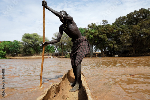 Fotografie, Obraz  Crossing the Omo river (Ethiopia)