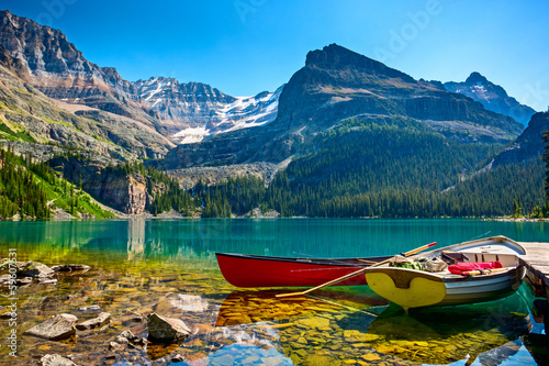 Spoed Foto op Canvas Canada Lake O`Hara boats