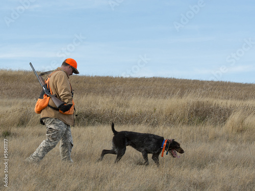 Poster Chasse Hunter and his dog