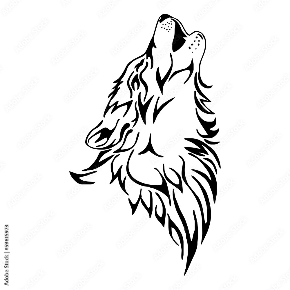 Wolf Howl Head Tattoo Vector Isolate Foto Poster Wandbilder Bei