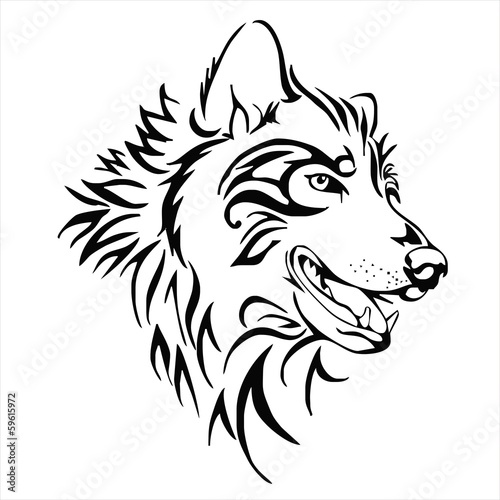 Wolf Head Tattoo Vector Isolate Buy This Stock Vector And Explore