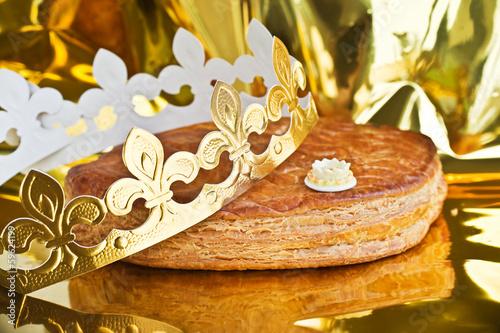 Traditionnelle galette des rois pour la fête de l'Epiphanie en janvier en France Canvas Print