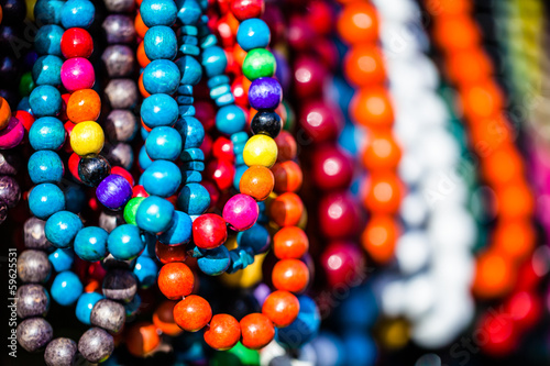 Wooden colored beads on the market in Zakopane,Poland