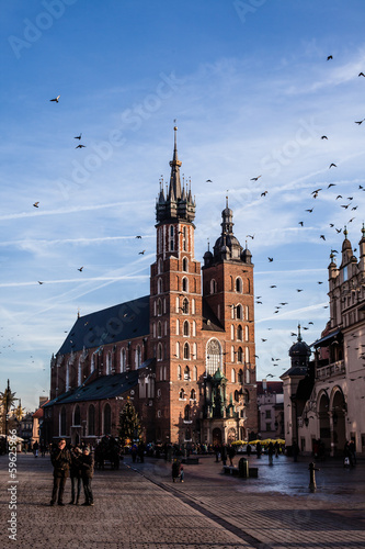 Poster Cracovie View at St. Mary's Gothic Church,famous landmark,Krakow,Poland