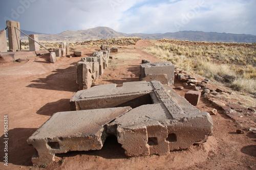 Poster Puma Ruins of Megalithic stone complex Puma Punku, Tiwanaku, Bolivia