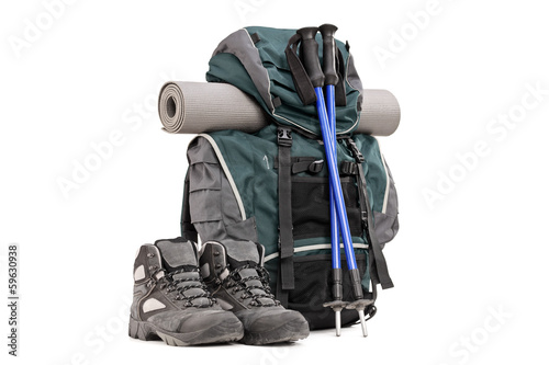 Fotografie, Obraz  Hiking equipment, rucksack, boots, poles and slipping pad