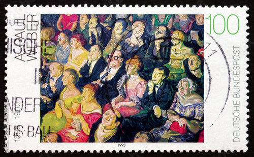 Poster Postage stamp Germany 1993 Audience, by Andreas Paul Weber