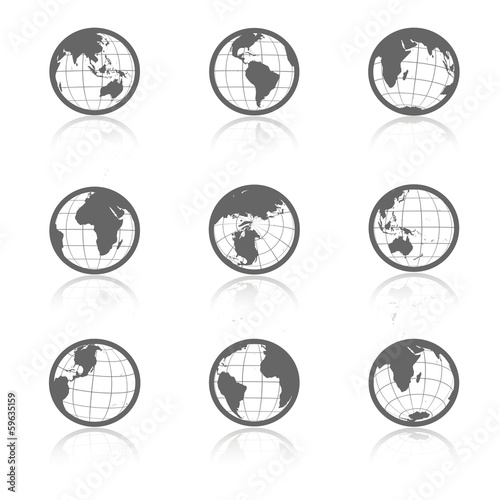 Staande foto Wereldkaart Vector globe symbols with shadow - icons of world
