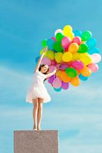 Happy Birthday Woman Against The Sky With Rainbow-colored Air Ba