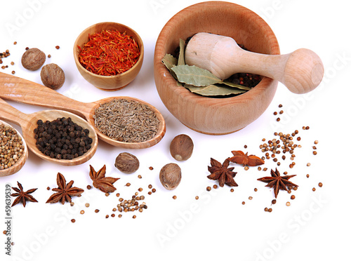 Tuinposter Kruiden 2 Various spices and herbs isolated on white