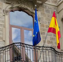Spanish And EU Flag