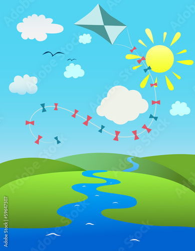 Aluminium Prints River, lake summer landscape with a kite on the blue sky