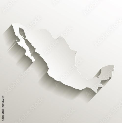 Mexico map card paper 3D natural Canvas Print