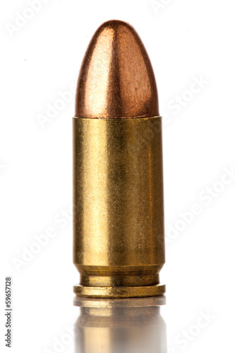 Stampa su Tela 9mm bullet for a gun isolated on a white background