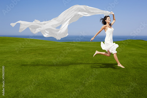 Fotografie, Tablou Jumping with a white tissue