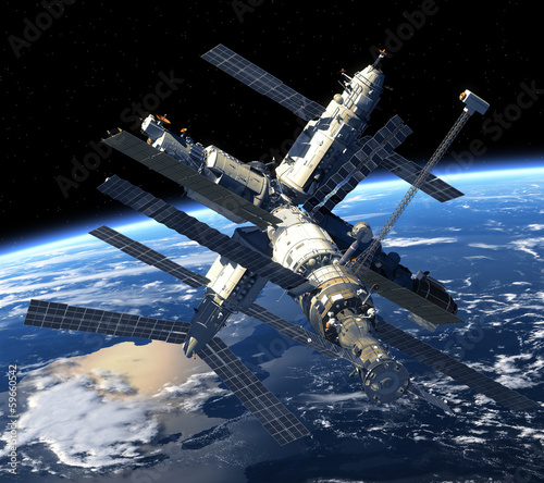 stacja-kosmiczna-orbitujaca-nad-ziemia