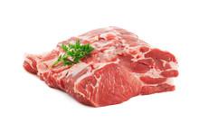 Morceau D'échine De Porc Cru Sur Fond Blanc