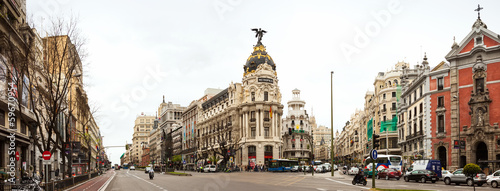Foto auf Gartenposter Madrid Panorama of Crossing the Calle de Alcala and Gran Via in Madrid