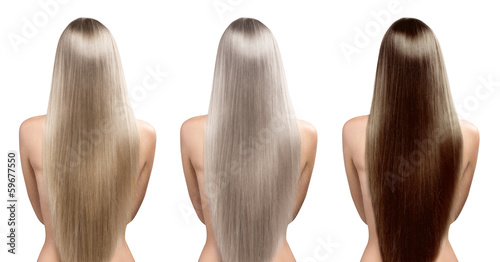 Fényképezés  Hair tones. Hair coloring. Perfect long straight hairstyle